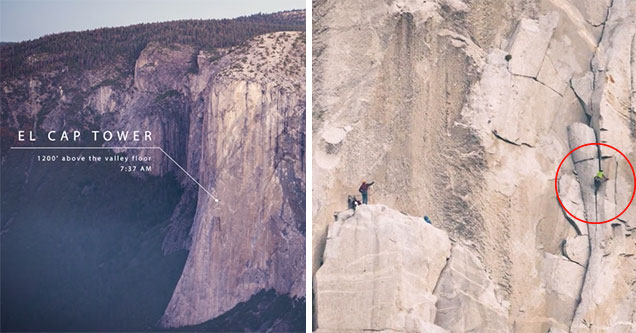 rock climbers going up the face of el cap tower