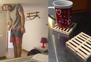 a tall man leaning over because he doesn't fit in his room, a coaster that looks like a pallet