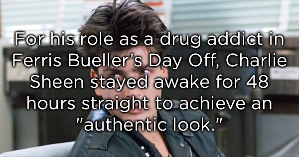 Charlie Sheen stayed awake 48 hours to look druggy