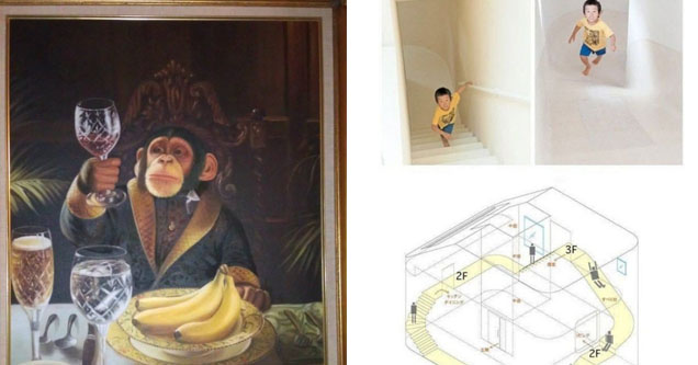 monkey staring into a glass in a painting. Kid climbing a crazy indoor slide contraption