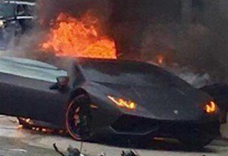 sports car ablaze