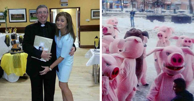 priest is groped for once, pig people