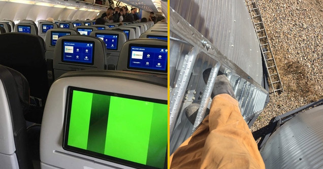 the inside of a passenger airplane where only one screen is not working and a man on top of a roof whose ladder fell down
