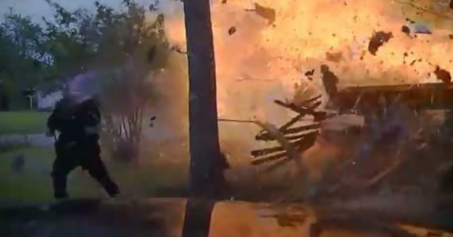 House Explodes as Police Respond to a Vehicle Accident
