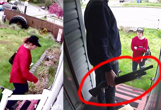 lady in a red shirt reaching up to grab a package off a door step. Different angle and the homeowner is there holding what appears to be a shotgun