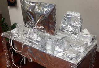 aluminum foil wrapped desk