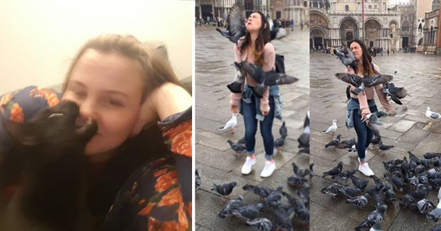 lady sitting in her home as a cat tries to bite her nose, other lady on a city street covered in pigeons