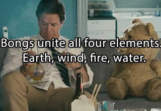 a scene from the movie ted with mark wahlberg and the bear sitting on a couch
