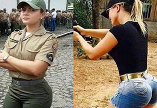 two women in army uniforms and pictures of them in normal clothes next to that
