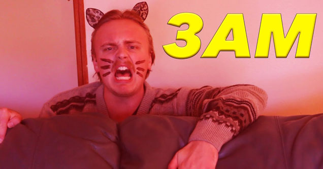 Youtuber Gus Johnson dressed as a cat with '3 am'