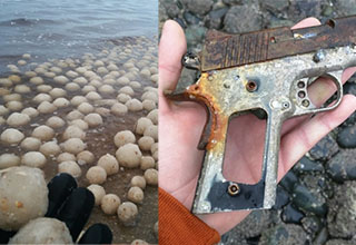 a beach covered with ice balls, and a rusted pistol found on the beach