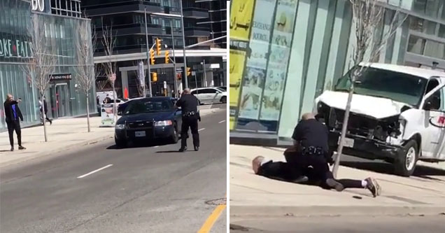 police point gun at van driver in toronto, the same cop sitting on top of the man to arrest him