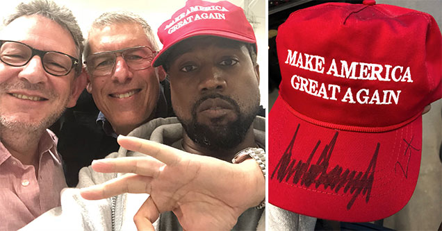 Kanye West posing in his signed Donald Trump hat