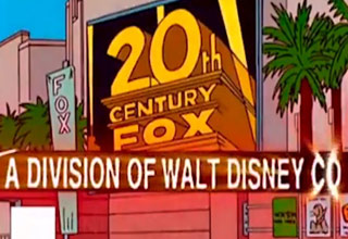 a still from the simpsons predicting disney buying fox