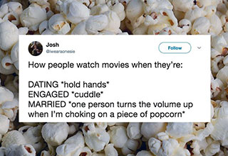 funny tweet about marriage how couples watch movies