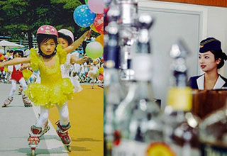 a young korean girl skating in a yellow dress while holding balloons. A north korean lady staring to the left photographed through bottles.