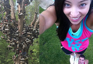 a tree full of shoes in the middle of the woods, a cheerleader being held up by her partner while taking a selfie