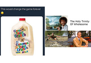a milk jug with cinnamon toast crunch logo, the trifecta of wholesome it's bob ross, steve ewrin and mr. rogers