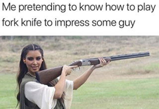 kim kardashian holding a rifle with text about playing fort night