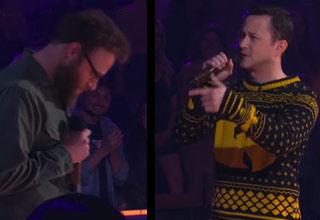 movie stars seth rogen and joseph gordon levitt battle rapping on drop the mic tv show