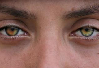 soldier with multi-colored eyes