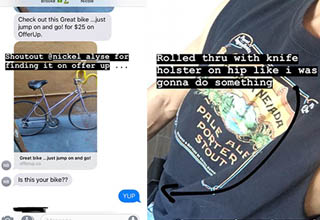 a bike displayed in a series of texts, a man with a sierra nevada shirt and a knife in a holster