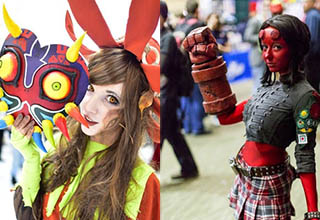 majoras mask cosplayer and a hellboy cosplayer, they are both female