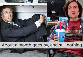 a man sitting under his desk, afraid. Another man sitting at a desk drinking a big gulp