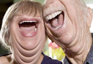 surreally happy old couple
