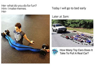 a lady doing a split with barbells on each leg, a car being pulled by tiny other cars