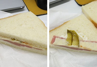 pathetic looking sandwich with nothing in it