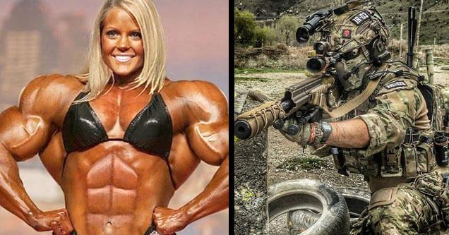 a muscular woman in black bikini and elite soldier holding gun