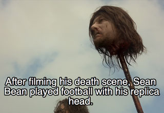 Ned Starks head from Game of Thrones on a spike, with a fact about how the sactor Sean Bean played football with it after the shoot