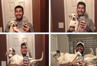 a man in 4 photos with his dog at different ages