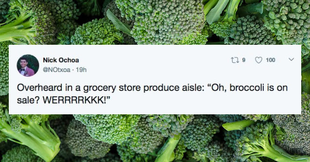 a photo of broccoli with a tweet about broccoli on sale