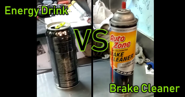 a can of monster energy drink next to a can of brake cleaner
