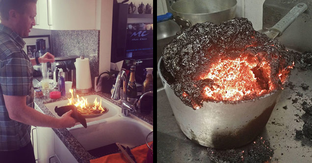 a man trying to put a dish he made that is on fire and what looks like molten lava in a pan