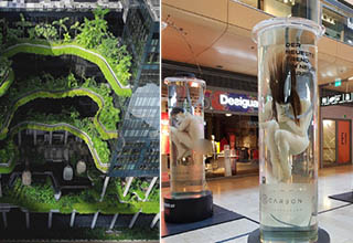 an interesting layered garden building, people in tubes in the middle of a mall
