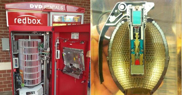 Inside Redbox and hand grenade.