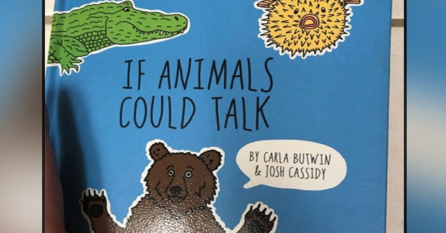 a photo of a childrens book with a bear called if animals could talk
