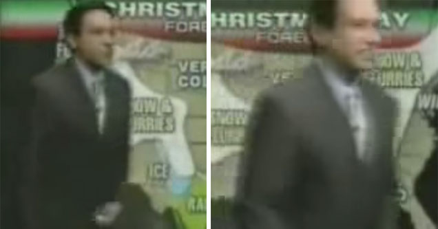 weather man runs off set and to the bathroom