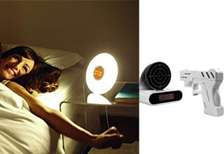 a lady stretching in front of an alarm clock that gives off light, a white pistol facing the target on an alarm clock.