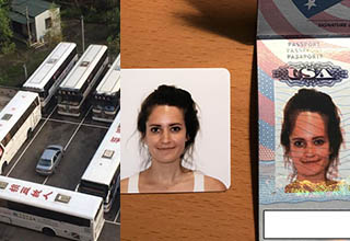 car surrounded by buses in parking lot, an id photo that has an elongated head