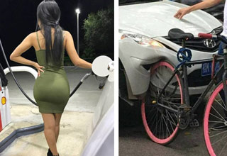 a girl in a tight green dress and plump booty pumps gas and a car that hit a bike and ruined the car