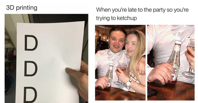a piece of paper with three d's on them, a man next to a lady with ketchup in his hand