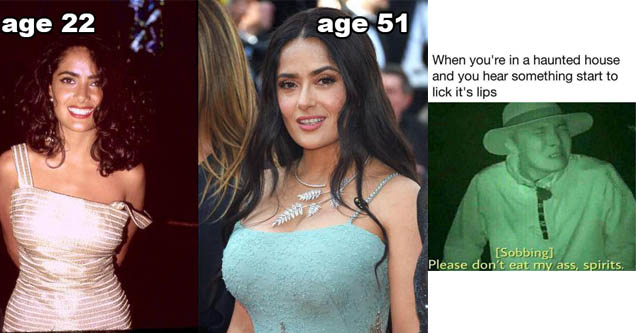 salma hayeck age 22 and age 51, she looks similar