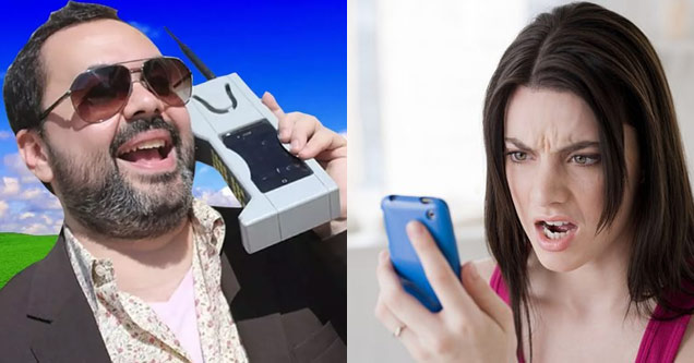 a man using an old very large cell phone and woman on an iphone looking angry