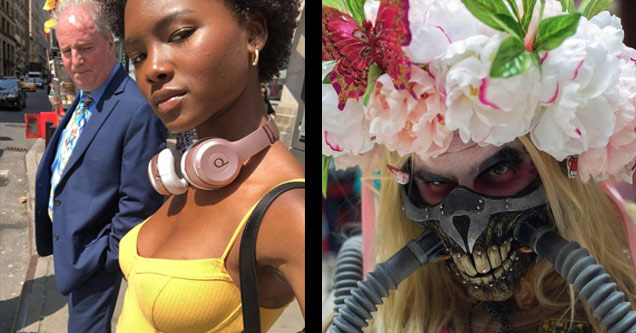a man caught starting at a womans boobs and mad max with a flowery head dress
