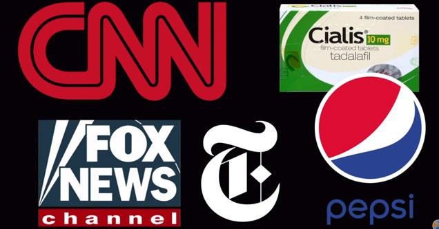 cnn fox news ny times and pepsi logos on black background