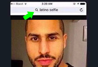 a man who sent a selfie and forgot to crop out the google search